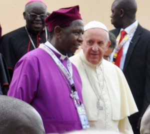 Pope Francis with Archbishop Stanley Ntagali during the Pope's visit to the Anglican Shrine of the Uganda Martyrs on 28th November 2015
