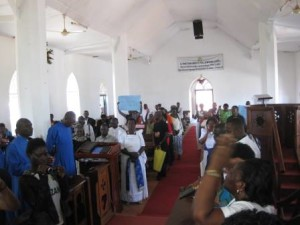 Supporters at St. Mark's Church, Entebbe, for a Thanksgiving service.